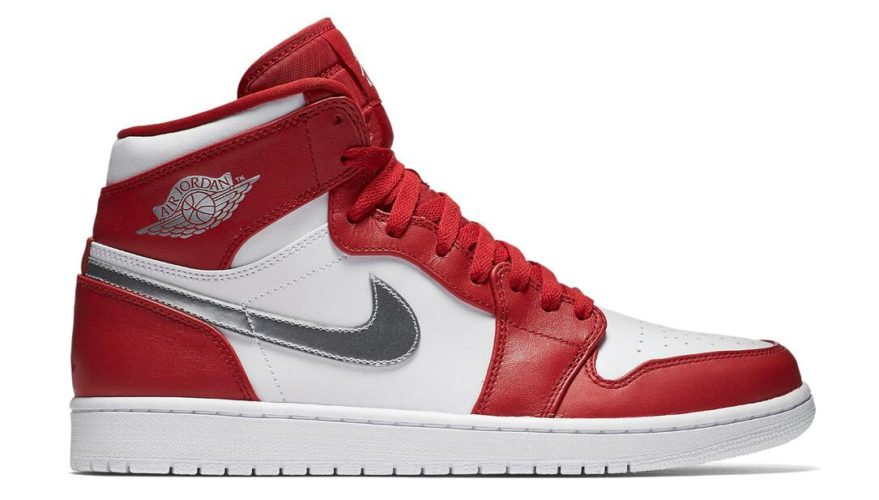 Air Jordan 1 Retro High Gym Red/Metallic Silver-White (Silver Medal)